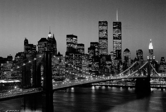 NYC silueta amb el pont de Brooklyn