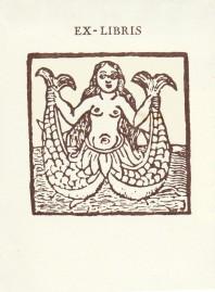 Ex-libris sirena amb dues cues a krappabcn