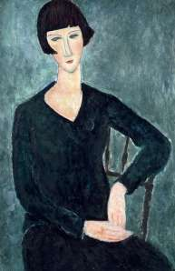 Seated woman in blue dress, 1918 Amedeo Modigliani